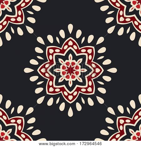 Luxury Damask seamless medallion star floral vector pattern