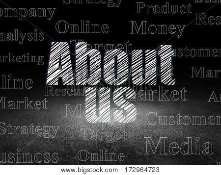 Marketing concept: Glowing text About Us in grunge dark room with Dirty Floor, black background with  Tag Cloud