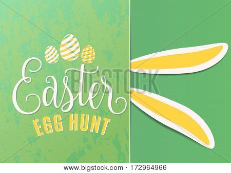 Vector illustration of cute fun happy easter egg hunt with easter bunny ears, striped line eggs, hand drawing lettering greeting text sign on green background
