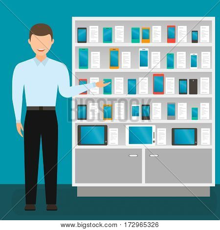 male sales consultant mobile phones vector illustration. rack with cell phones.