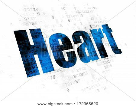 Healthcare concept: Pixelated blue text Heart on Digital background