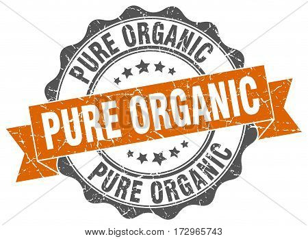 pure organic. stamp. sign. seal. round. retro. ribbon