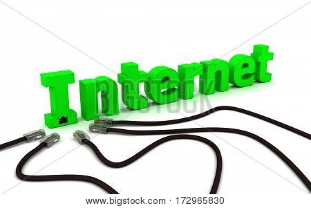 3D render. Internet - green label and black cable