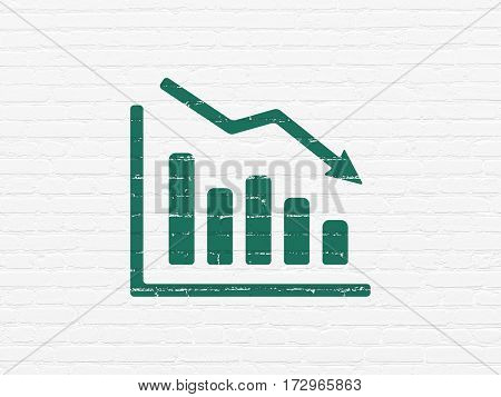 News concept: Painted green Decline Graph icon on White Brick wall background