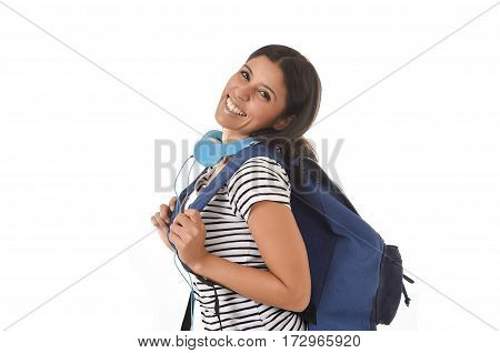 young beautiful and trendy latin student girl carrying backpack smiling happy and confident in university and college education isolated on white background