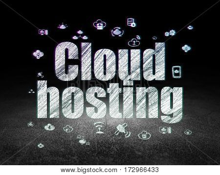 Cloud computing concept: Glowing text Cloud Hosting,  Hand Drawn Cloud Technology Icons in grunge dark room with Dirty Floor, black background