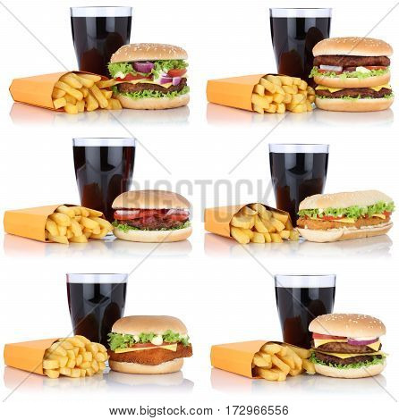 Hamburger Collection Set Cheeseburger And Fries Menu Meal Combo Cola Drink Isolated