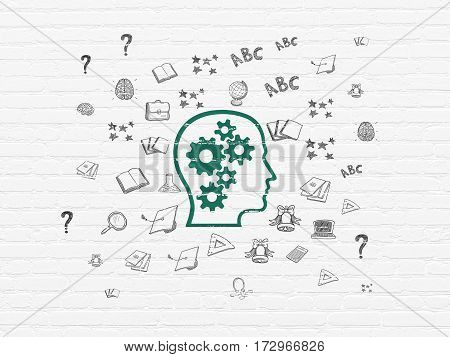 Education concept: Painted green Head With Gears icon on White Brick wall background with  Hand Drawn Education Icons