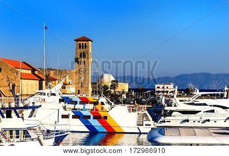 Beautiful historical Mandraki Harbor of Island of Rhodes, Greece