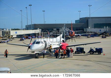 FORT LAUDERDALE, FL, USA - DEC. 25, 2012: Silver Airways Saab 340 at airport, Fort Lauderdale, Florida, USA.
