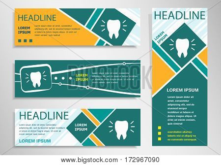 Tooth Icon On Horizontal And Vertical Discount Banner, Header