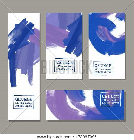 Vector banner set blue purple shapes isolated on gray background. Hand drawn abstract acrylic paint brush strokes. Painting elements.