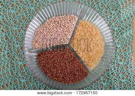 Cereals / Various cereals lying on a plate