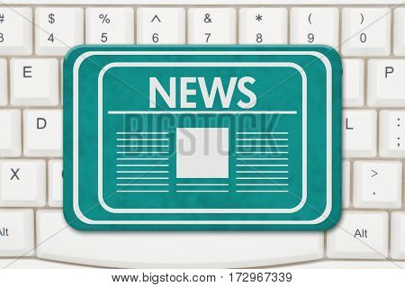 News sign A teal sign with text News and newspaper icon on a keyboard 3D Illustration