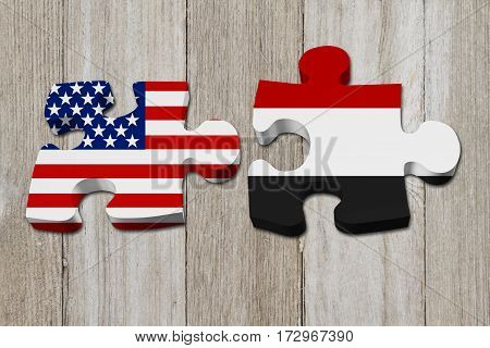USA and Yemen working together The US flag and Yemeni flag on two puzzle pieces on weather wood 3D Illustration