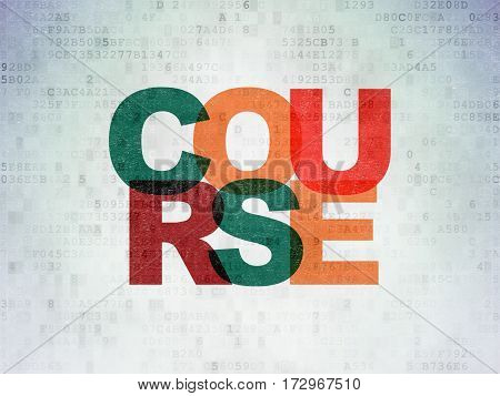 Studying concept: Painted multicolor text Course on Digital Data Paper background