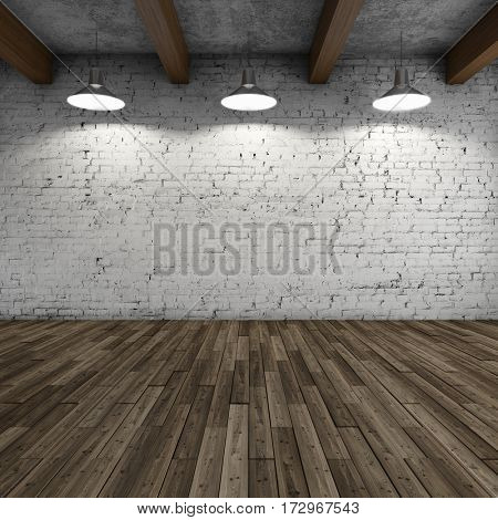 Interior style loft with lamps and brick wall. 3D illustration.