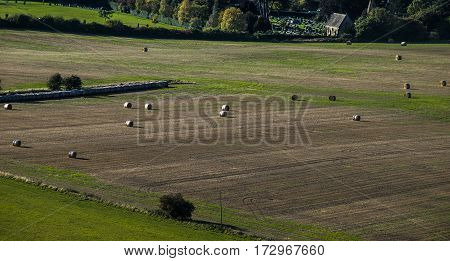 View from a hill on the bale of hay.