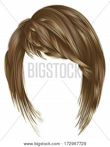 trendy  woman  hairs kare with fringe  . light  brown blond  colors .  medium length . beauty style . realistic  3d .