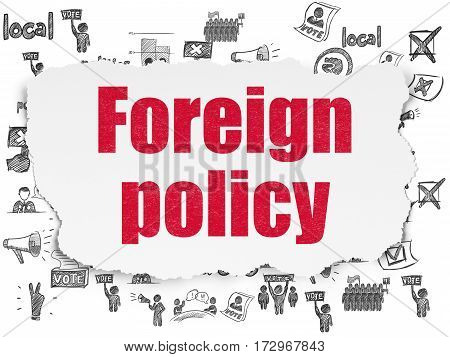 Political concept: Painted red text Foreign Policy on Torn Paper background with  Hand Drawn Politics Icons