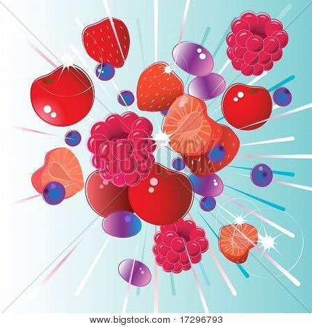 Fresh red fruit burst