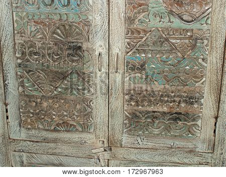 Fragment vintage antique carved doors East of the chest