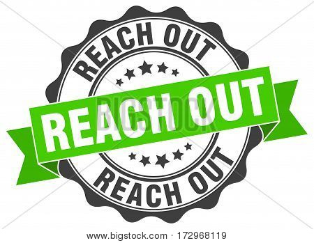 reach out. stamp. sign. seal. round. retro. ribbon