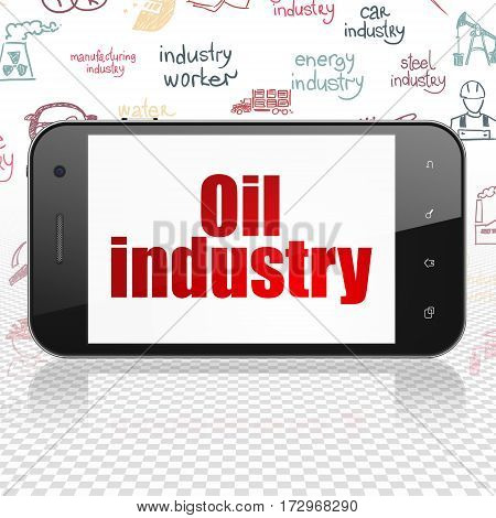 Industry concept: Smartphone with  red text Oil Industry on display,  Hand Drawn Industry Icons background, 3D rendering