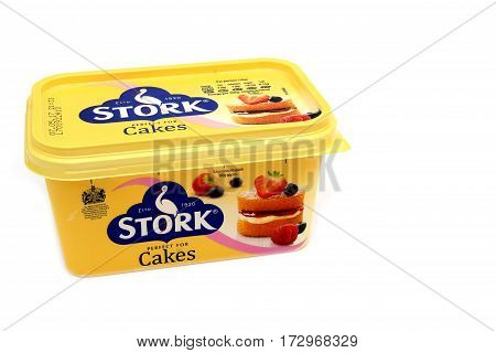 Camberley, Uk - Feb 22Nd 2017: Side View Of A Tub Of Stork Cakes Margarine, An Iconic Brand In The U