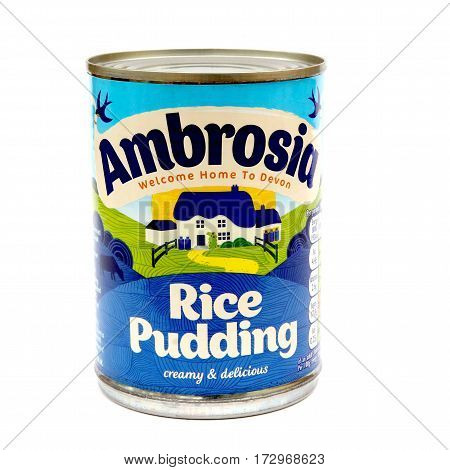 Camberley, Uk - Feb 22Nd 2017: Tin Of Ambrosia Rice Pudding On White Background. Ambrosia Is An Icon