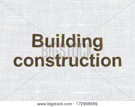Building construction concept: CMYK Building Construction on linen fabric texture background