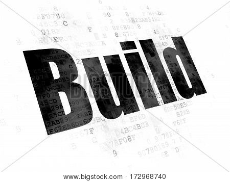 Building construction concept: Pixelated black text Build on Digital background