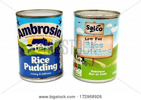 Camberley, Uk - Feb 22Nd 2017: Tin Of Ambrosia Rice Pudding On White Background, Next To An