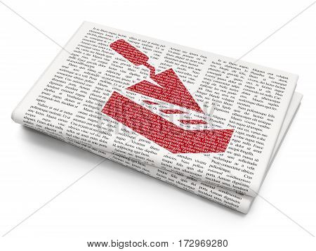 Construction concept: Pixelated red Brick Wall icon on Newspaper background, 3D rendering