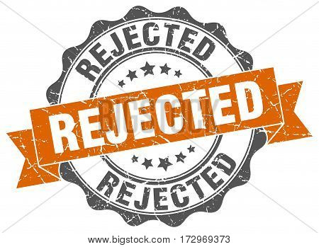 rejected. stamp. sign. seal. round. retro. ribbon