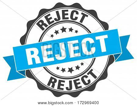 reject. stamp. sign. seal. round. retro. ribbon