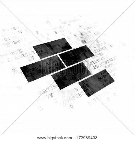 Construction concept: Pixelated black Bricks icon on Digital background