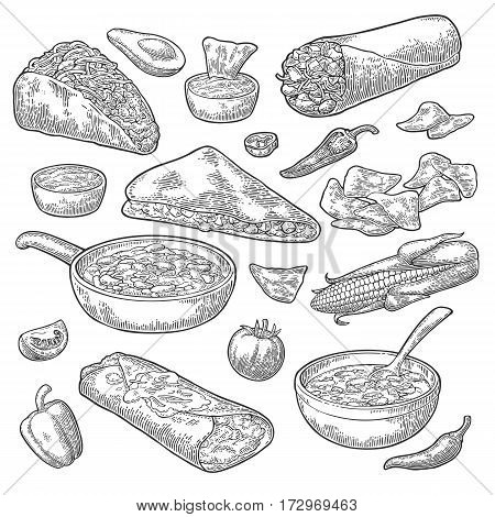 Mexican traditional food set with Guacamole Quesadilla Enchilada Burrito Tacos Nachos chili con carne with ingredient. Vector vintage black engraving illustration isolated on white background.
