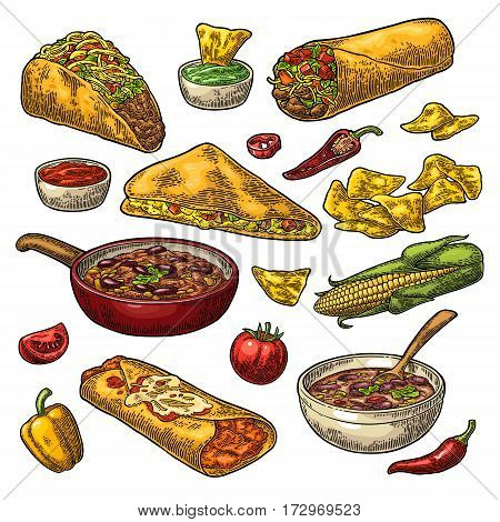 Mexican traditional food set with Guacamole Quesadilla Enchilada Burrito Tacos Nachos chili con carne with ingredient. Vector vintage color engraving illustration isolated on white background.