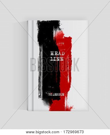 Black and red abstract design. Ink paint on brochure. Two color element isolated on white. Grunge banner paints. Liquid ink. Background for banner card poster identityweb design.