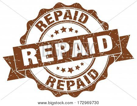 repaid. stamp. sign. seal. round. retro. ribbon