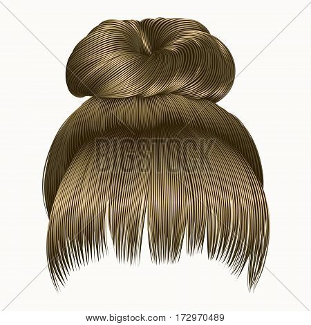 bun  hairs with fringe  blond colors . women fashion beauty style .