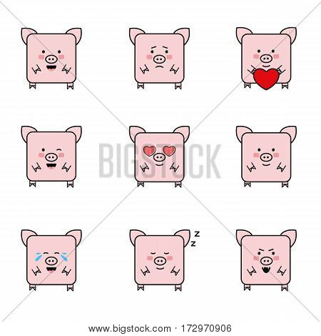 Set of pigs emoticons, isolated on white background, animal designed with different emotions, cute kitten emoji.