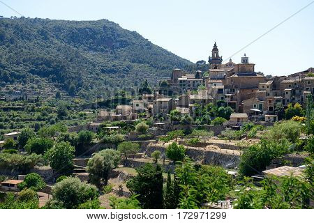 The view on buildings in Valldemossa village Mallorca island Spain
