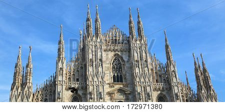Gothic Cathedral Called Duomo In Milan In Northern Italy