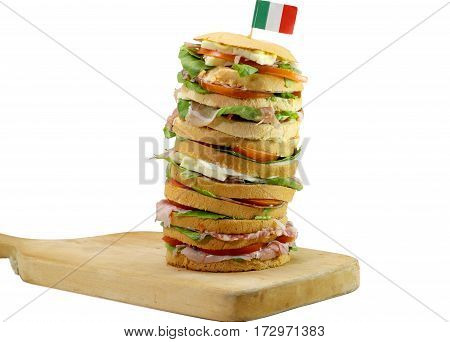 Gourmet Stuffed Sandwich With Many Layers Of Salami Cheese And T
