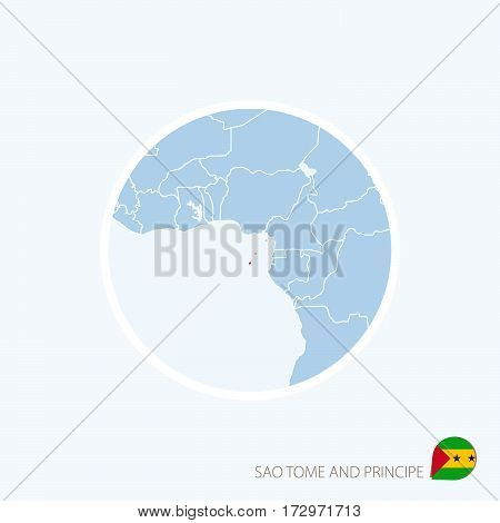 Map Icon Of Sao Tome And Principe. Blue Map Of Central Africa With Highlighted Sao Tome And Principe