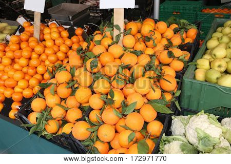 Stall Of Greengrocer With Clementines Mandarins And Orange With