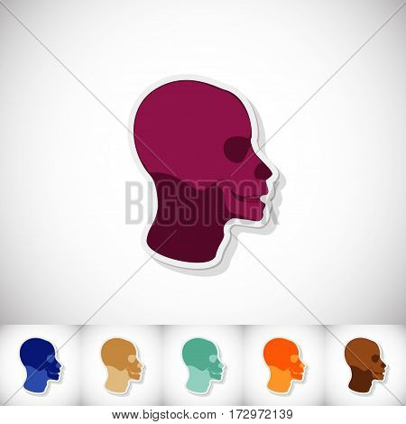 Skull human head. Flat sticker with shadow on white background. Vector illustration
