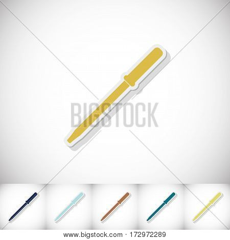 Medical pipette. Flat sticker with shadow on white background. Vector illustration